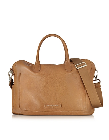Brown Leather Tote w/Shoulder Strap