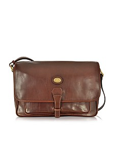 Dark Brown Leather Large Shoulder Bag - The Bridge