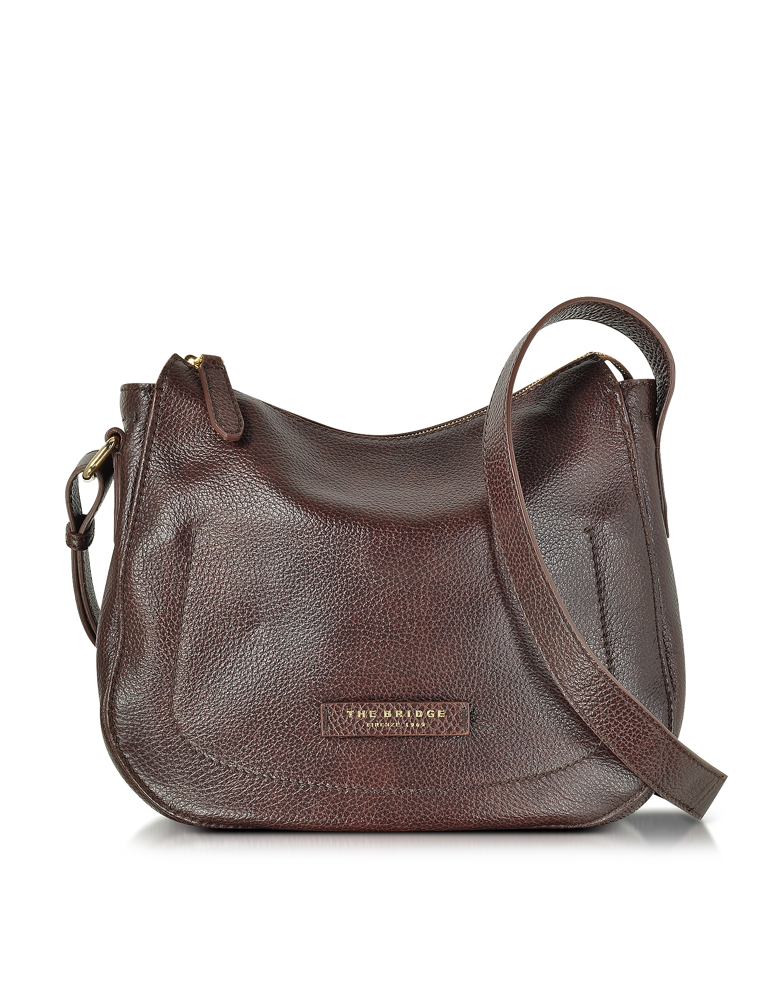 The Bridge Handbags, Plume Soft Donna Dark Brown Leather Shoulder Bag