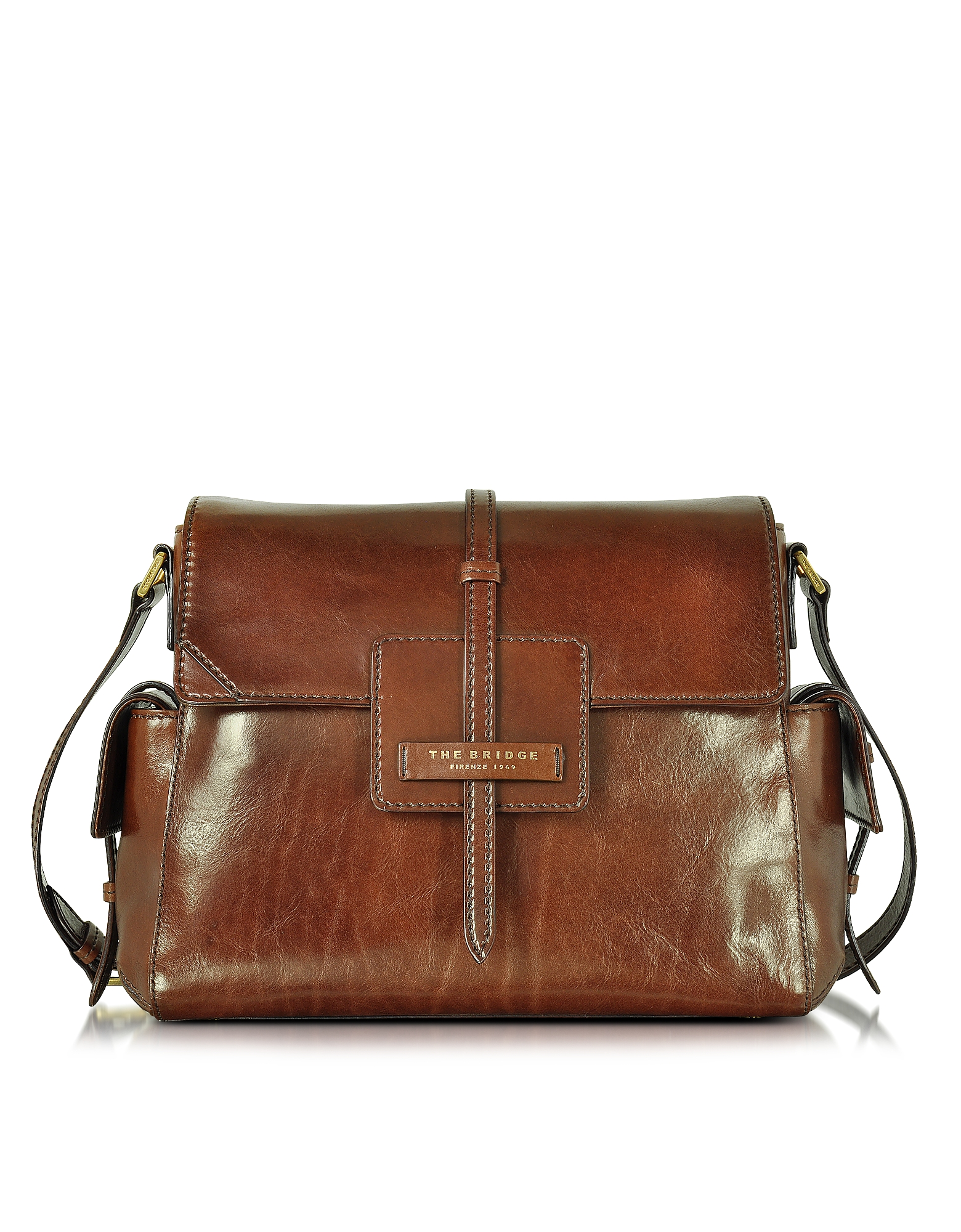 The Bridge Handbags, Icons Marrone Leather Shoulder Bag