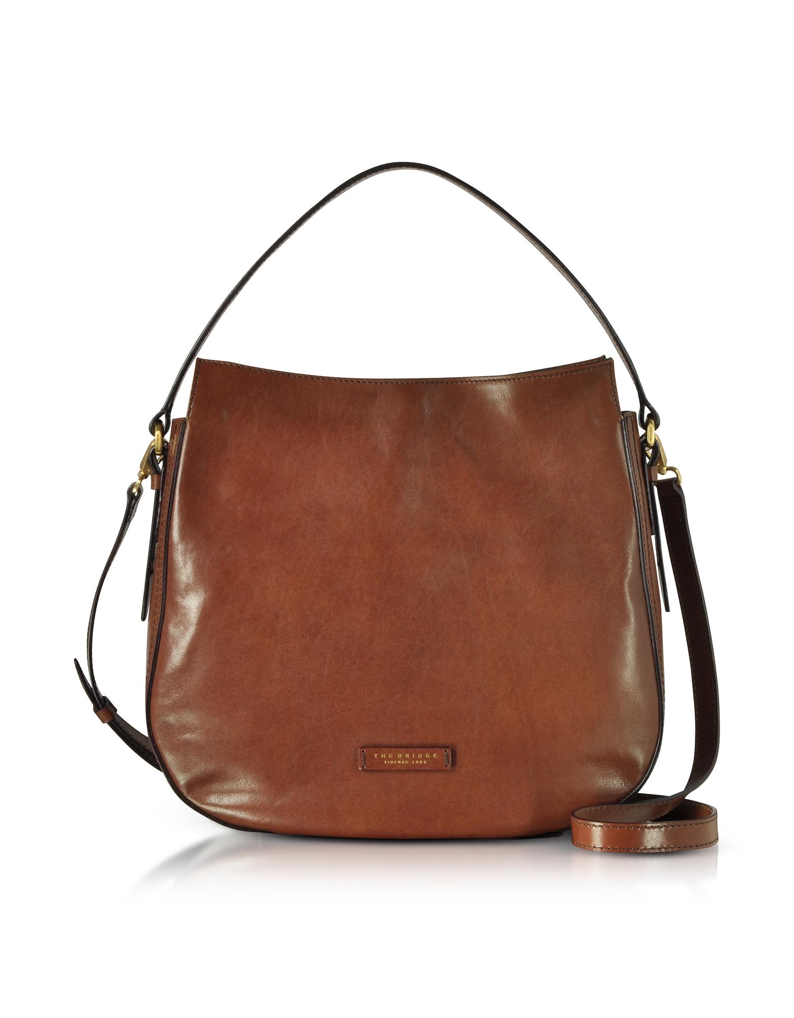 The Bridge Handbags, Florentin Brown Leather Shoulder Bag