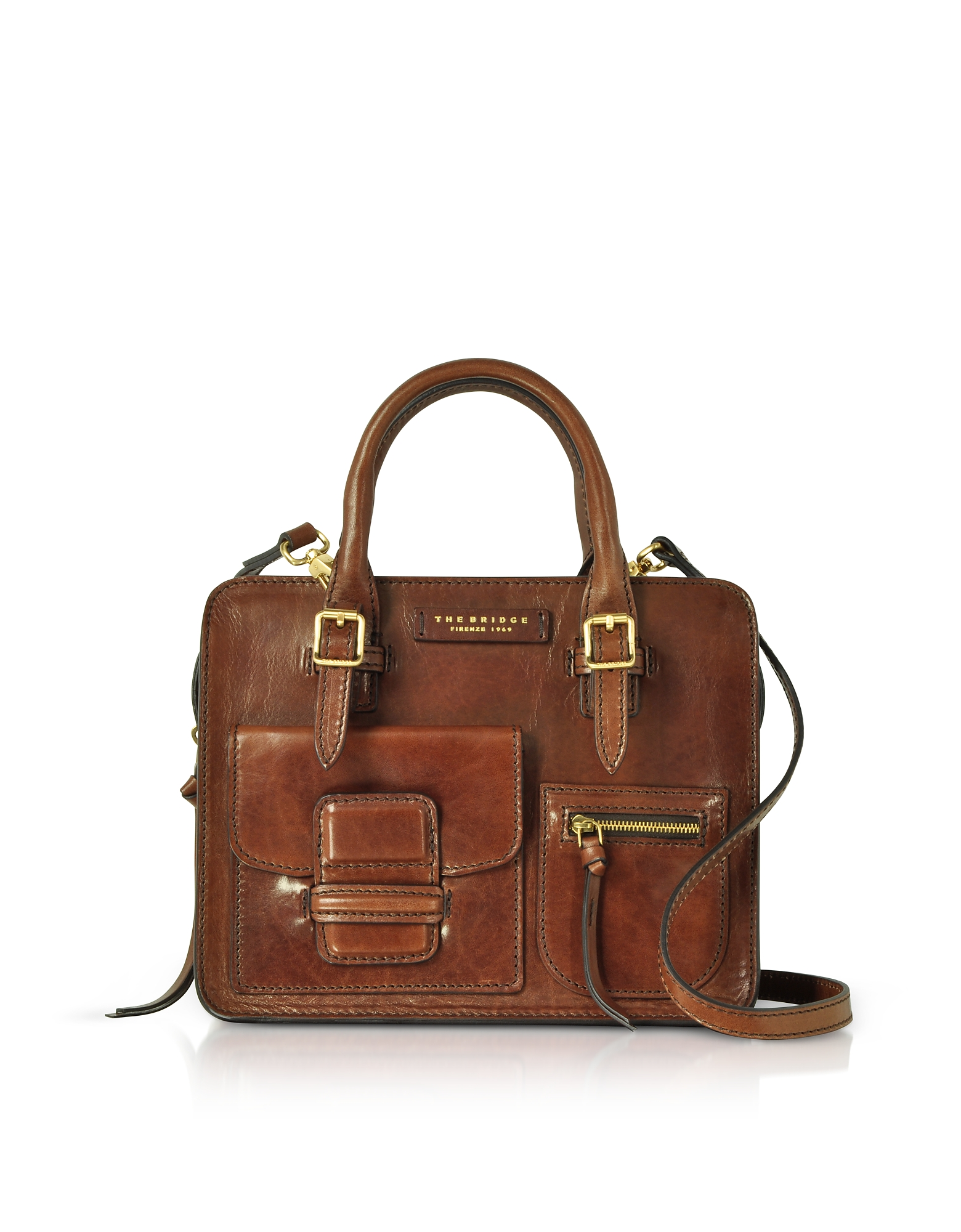 The Bridge Handbags, Brown Genuine Leather Mini Tote Bag