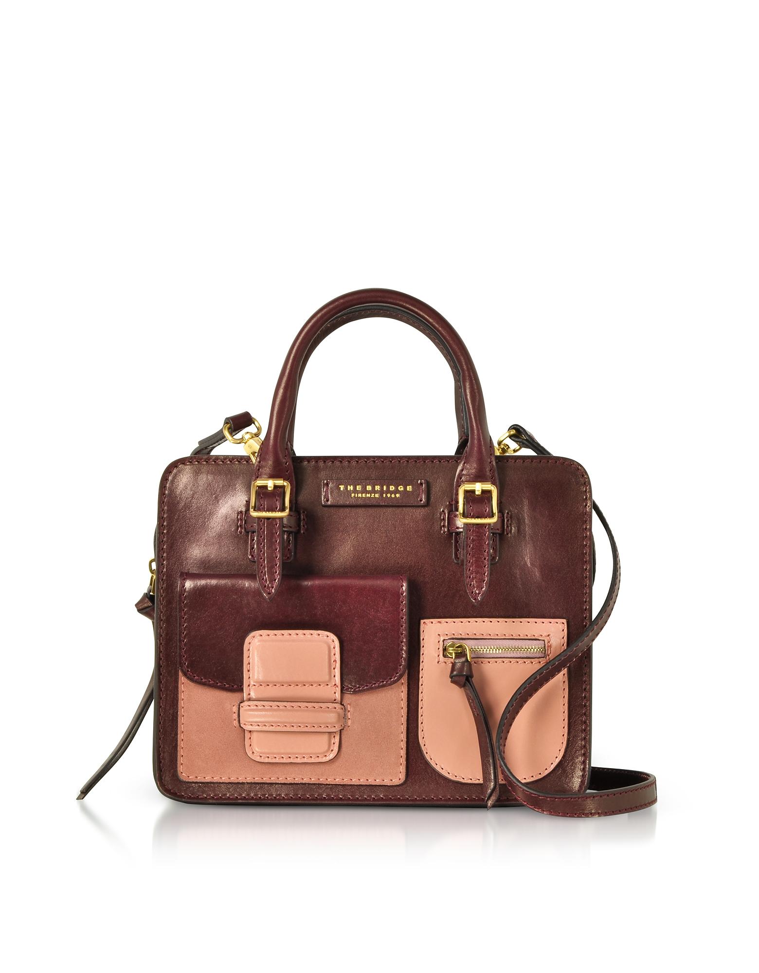 Burgundy Genuine Leather Mini Tote Bag