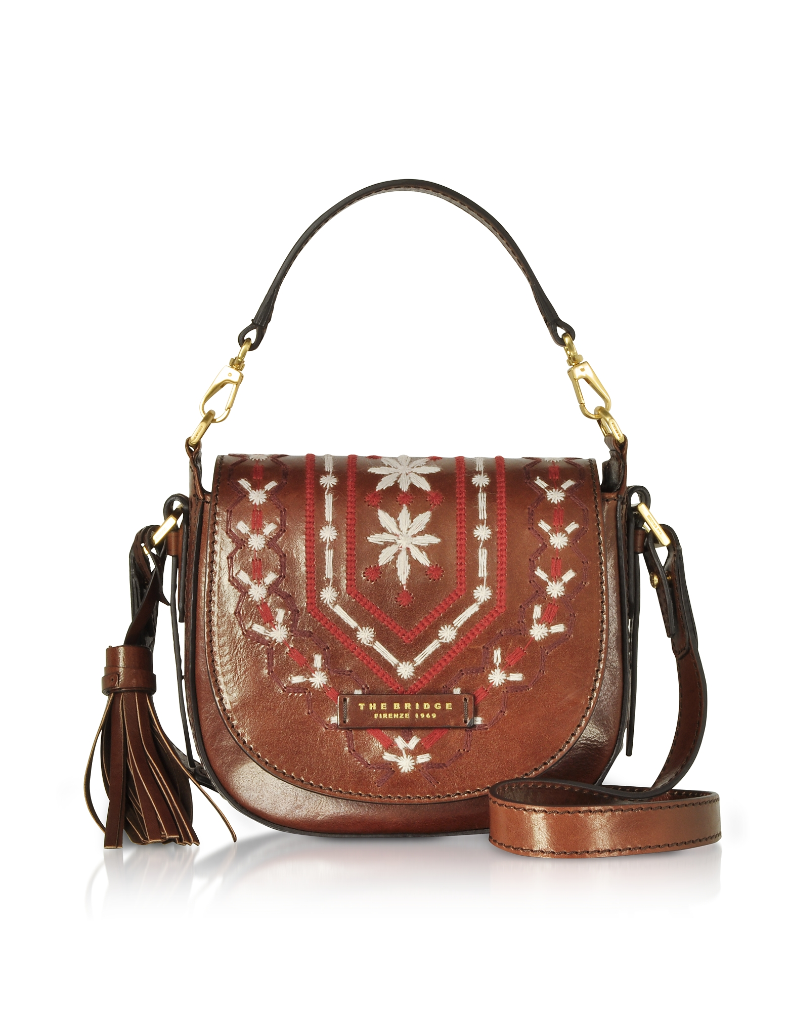 Fiesole Embroidered Leather Shoulder Bag