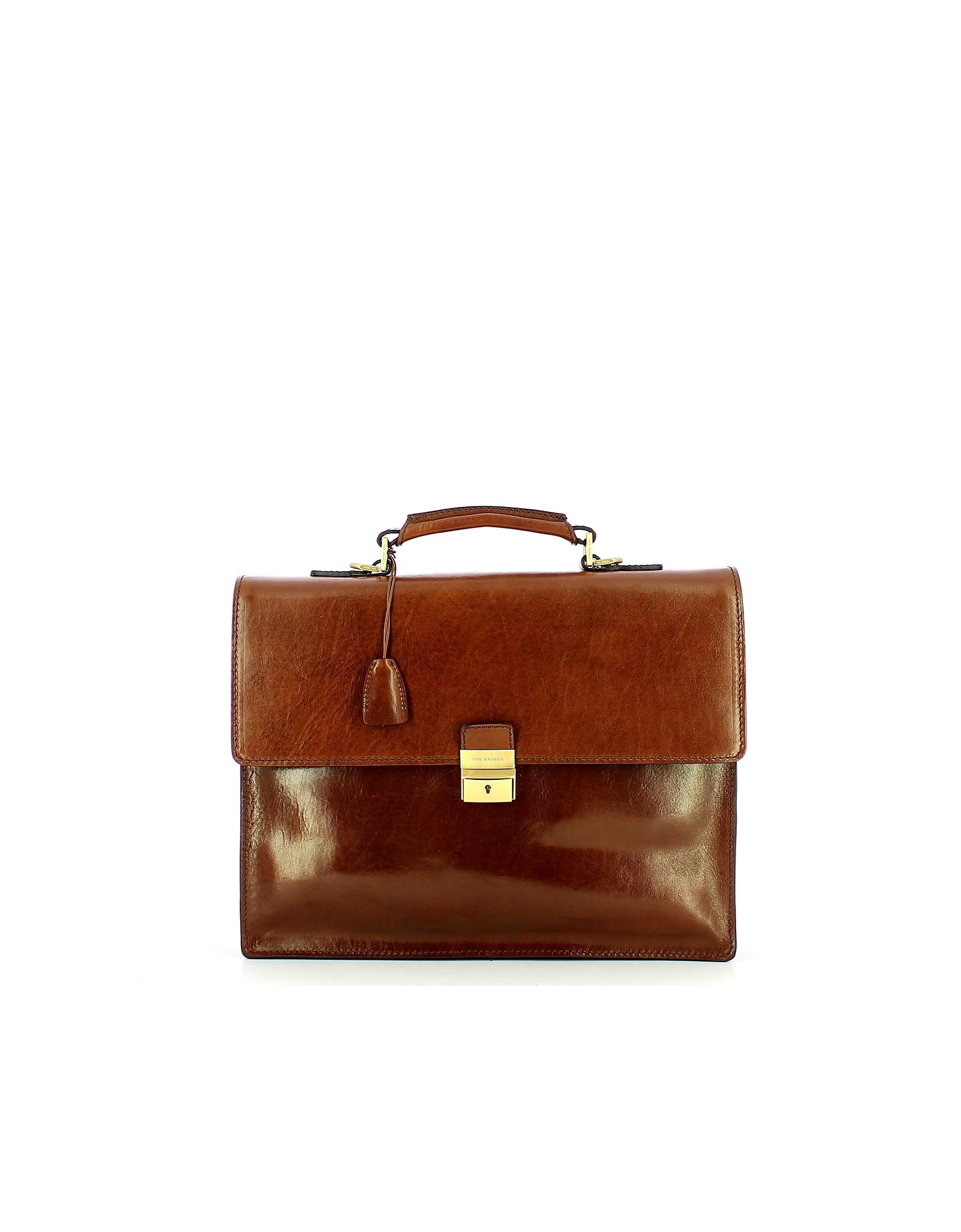The Bridge Designer Briefcases, Genuine Leather Top-Handle Men's Briefcase w/Zip Pockets