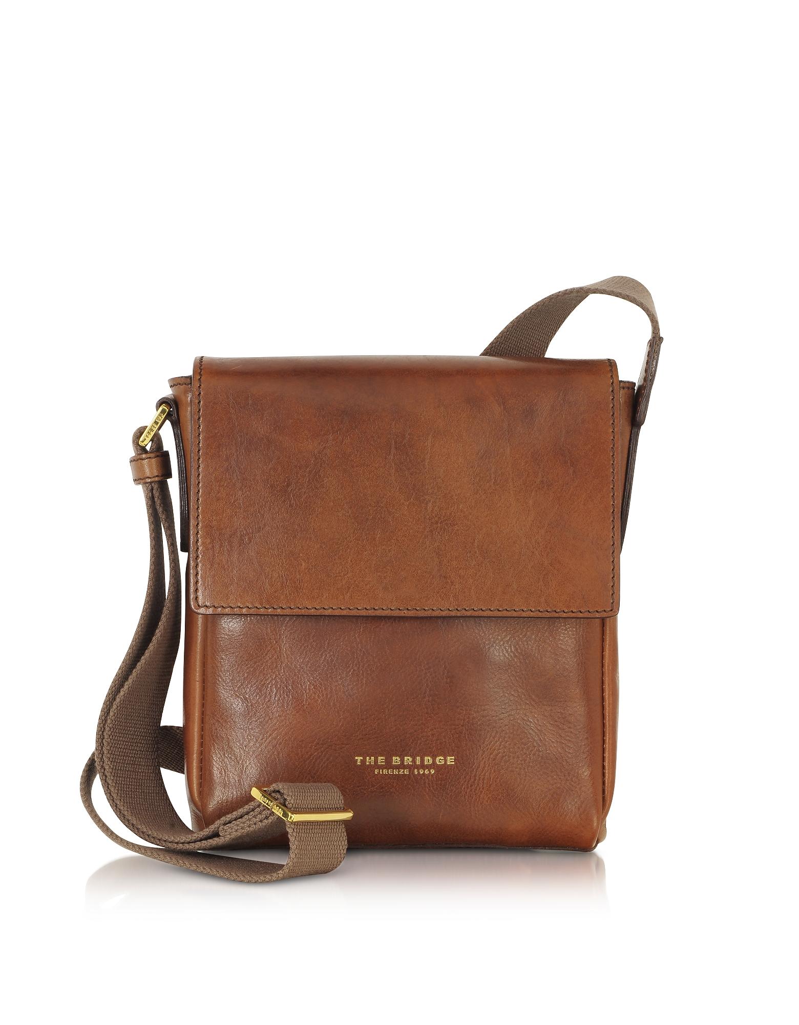 The Bridge Designer Men's Bags,  Sfoderata Marrone Leather Men's Crossbody Bag