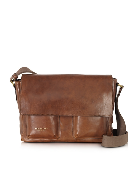 Foto The Bridge Borsa Messenger in Pelle Marrone Borse Professionali