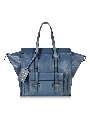 Ascott Blue Leather Small Tote