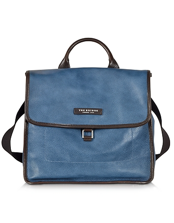 The Bridge - Urban Blue Leather Small Backpack
