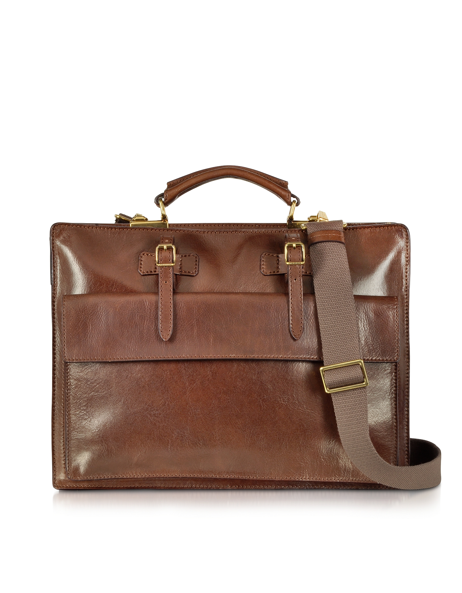 The Bridge Briefcases, Story Uomo Brown Leather Briefcase