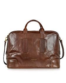 Cosmopolitan Large Brown Leather Weekender Bag - The Bridge