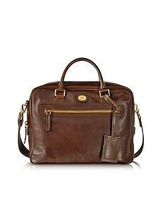 Story Uomo Dark Brown Leather Briefcase - The Bridge