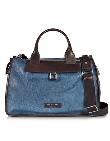 The Bridge - Urban Blue and Brown Leather Travel Bag