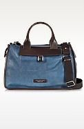 Urban Blue and Brown Leather Travel Bag - The Bridge
