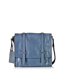 Light Blue Leather Messenger Bag - The Bridge