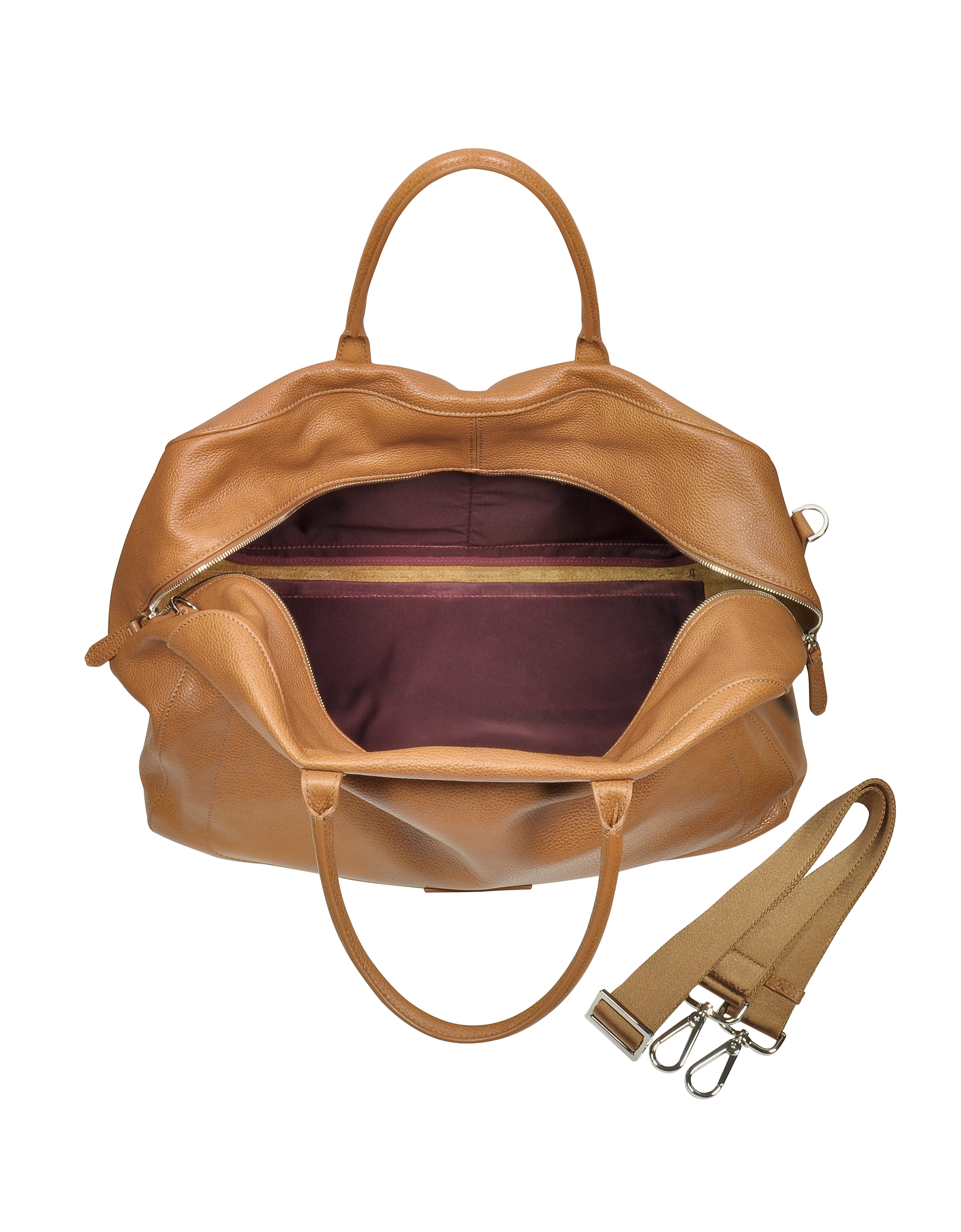 Brown Leather Duffle Bag от Forzieri INT