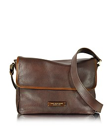 Plume Mix Uomo Dark Brown Leather Messenger Bag - The Bridge