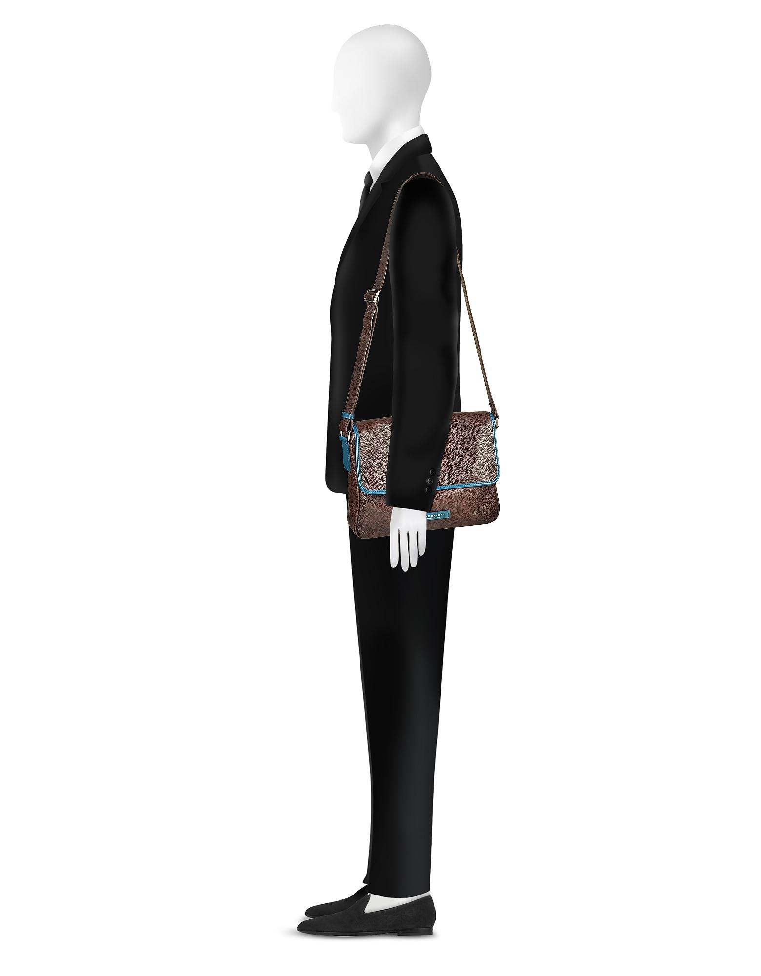 Фото Plume Mix Uomo - Темно-коричневая Кожаная Сумка Через Плечо. Купить с доставкой