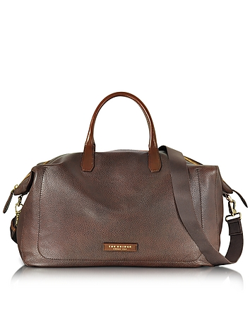 The Bridge - Plum Mix Uomo Dark Brown Genuine Leather Weekender Bag