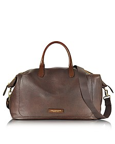 Plum Mix Uomo Dark Brown Genuine Leather Weekender Bag - The Bridge