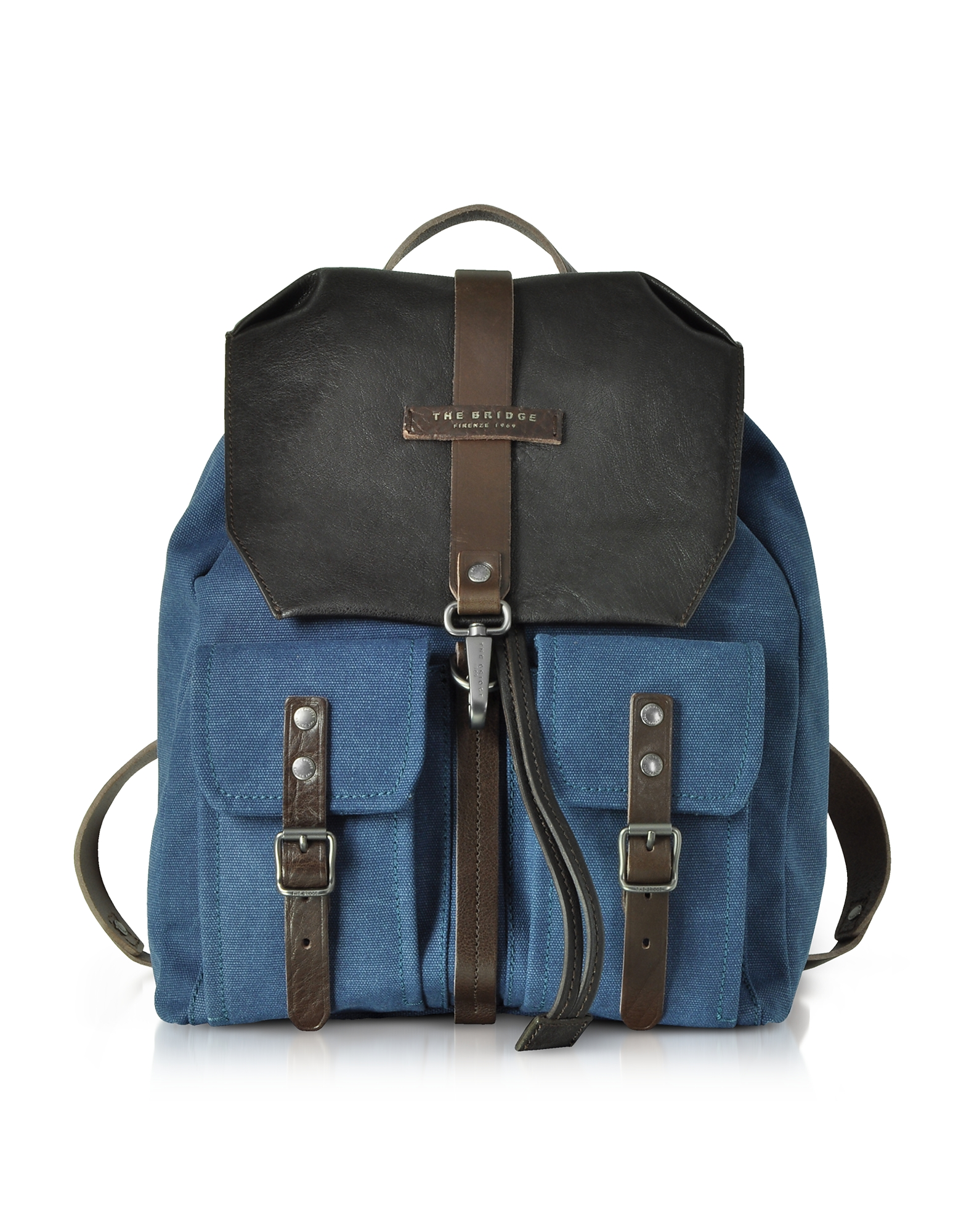 Image of The Bridge Designer Backpacks, Carver-D Canvas and Leather Men's Backpack w/Flap Top