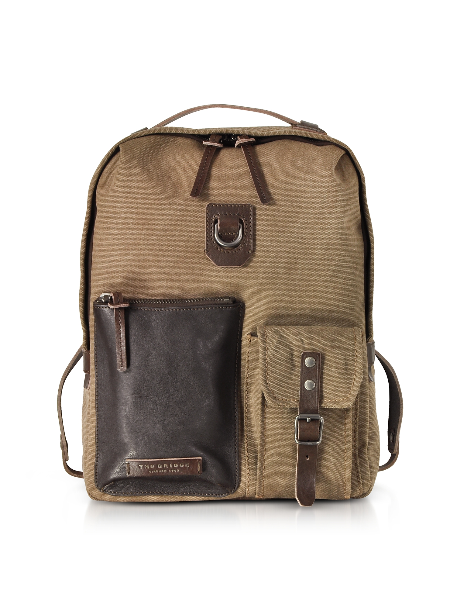 Image of The Bridge Designer Backpacks, Carver-D Canvas and Leather Men's Backpack w/Top Zip