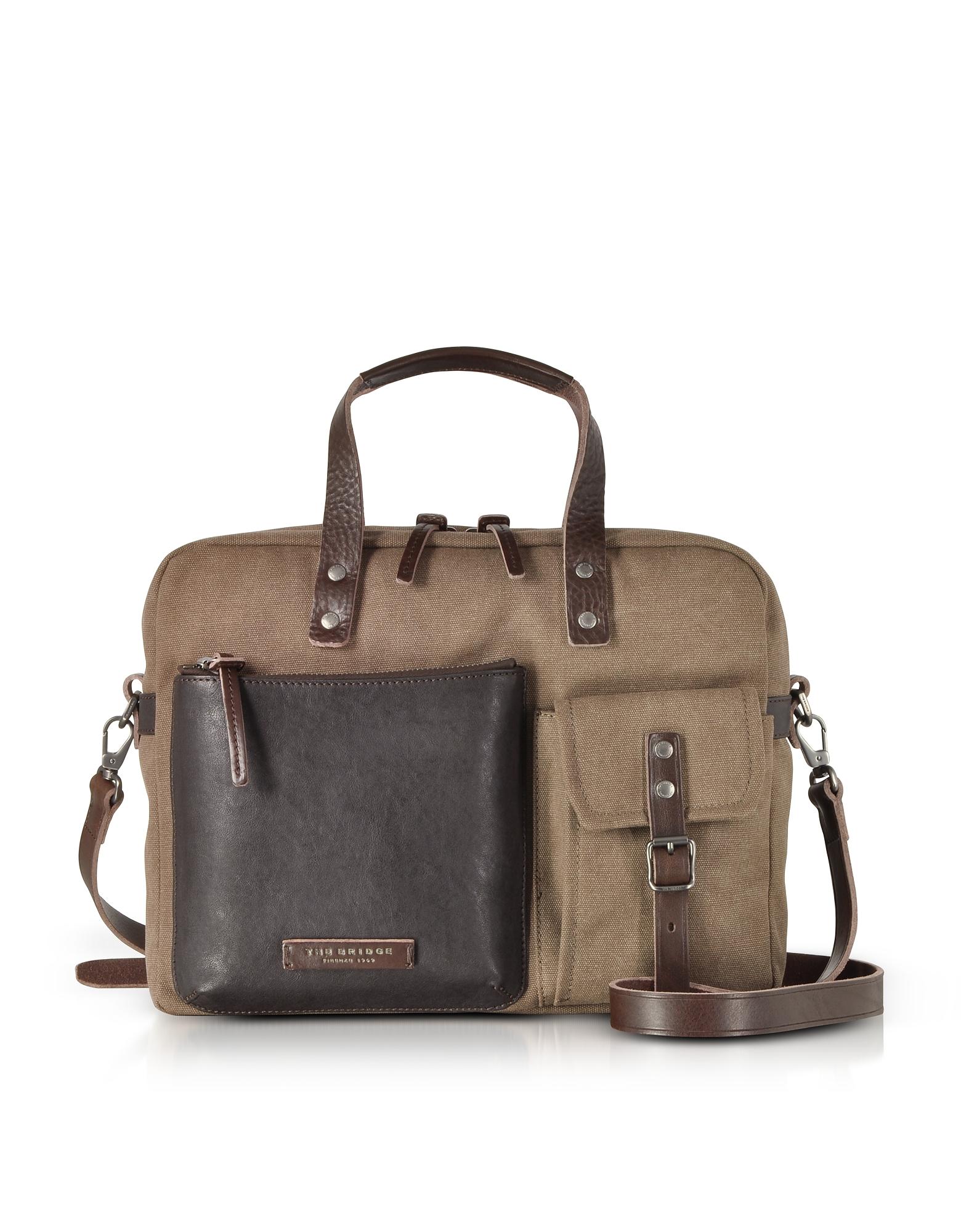 Carver-D Canvas Briefcase w/Leather Front Pocket
