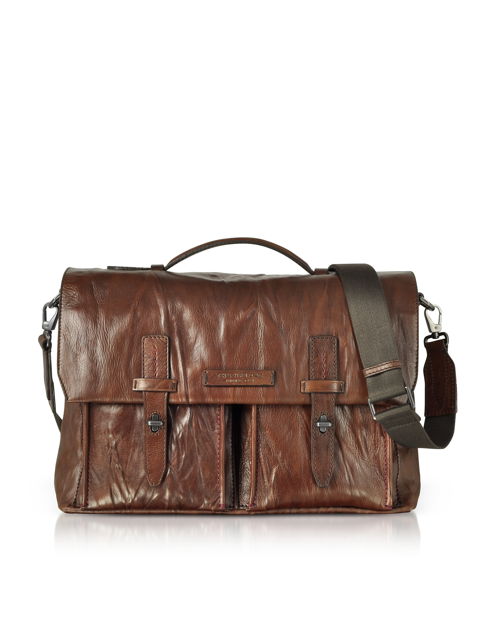The Bridge Briefcases, Washed Calf Leather Briefcase w/Shoulder Strap