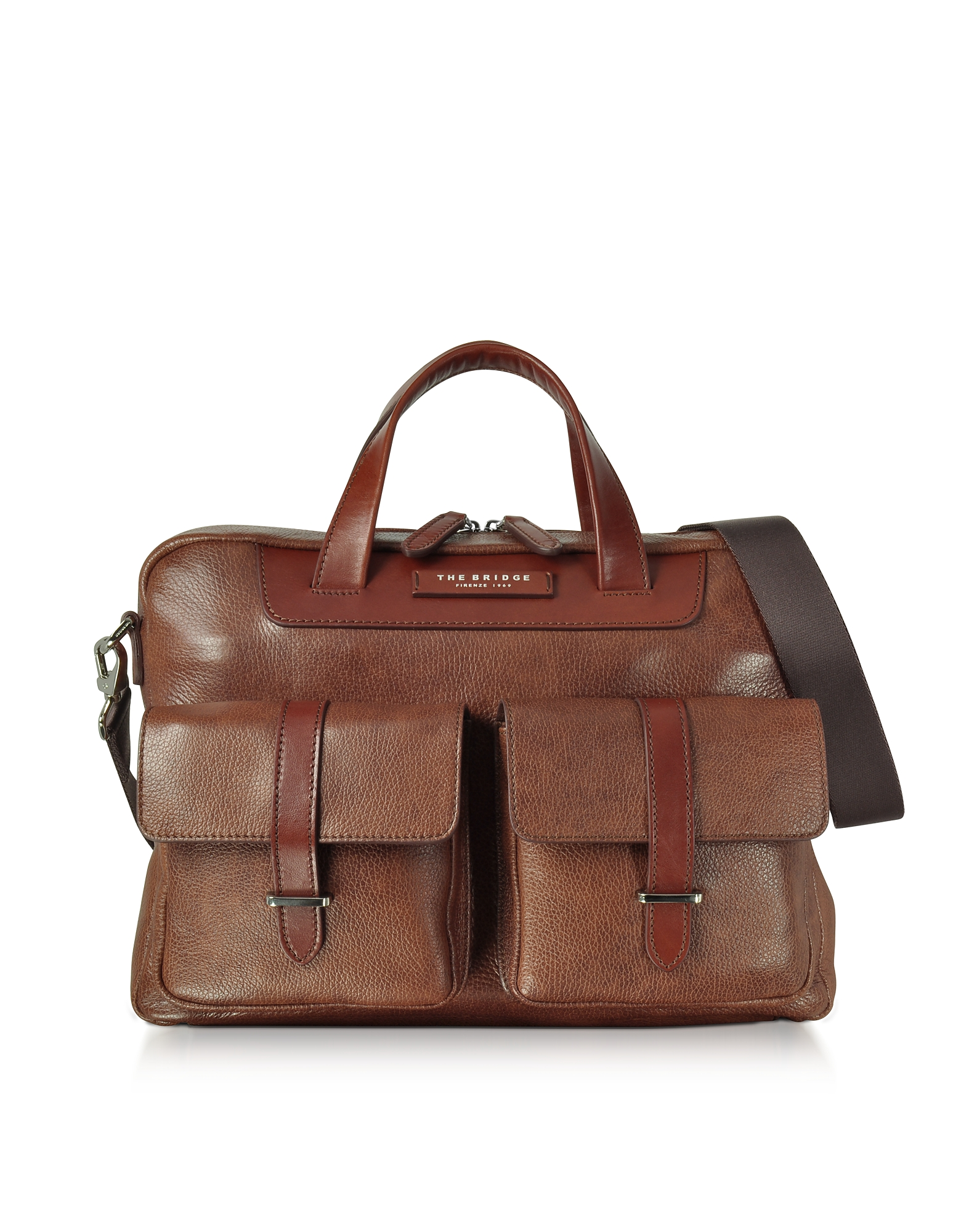 Image of The Bridge Designer Briefcases, Brown Leather Double Handle Briefcase w/Two Front Pockets