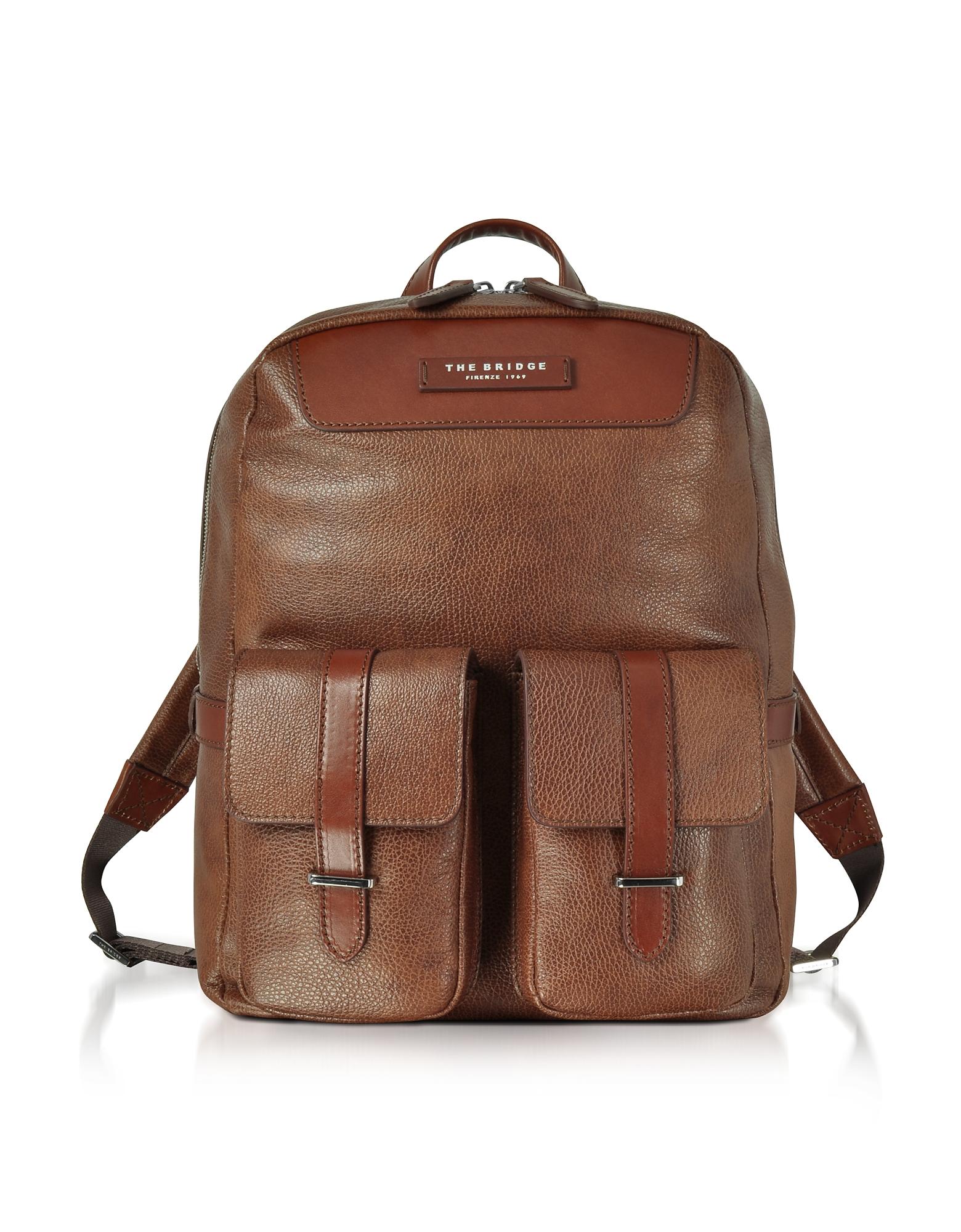 Коричневый Кожаный Рюкзак с Двумя Карманами Спереди