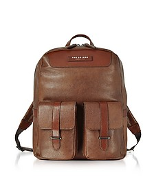Brown Leather Backpack w/Two Front Pockets - The Bridge