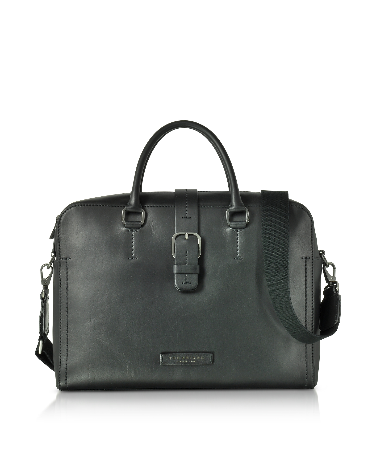 Image of The Bridge Designer Briefcases, Black Leather Double Handle Briefcase w/Detachable Shoulder Strap
