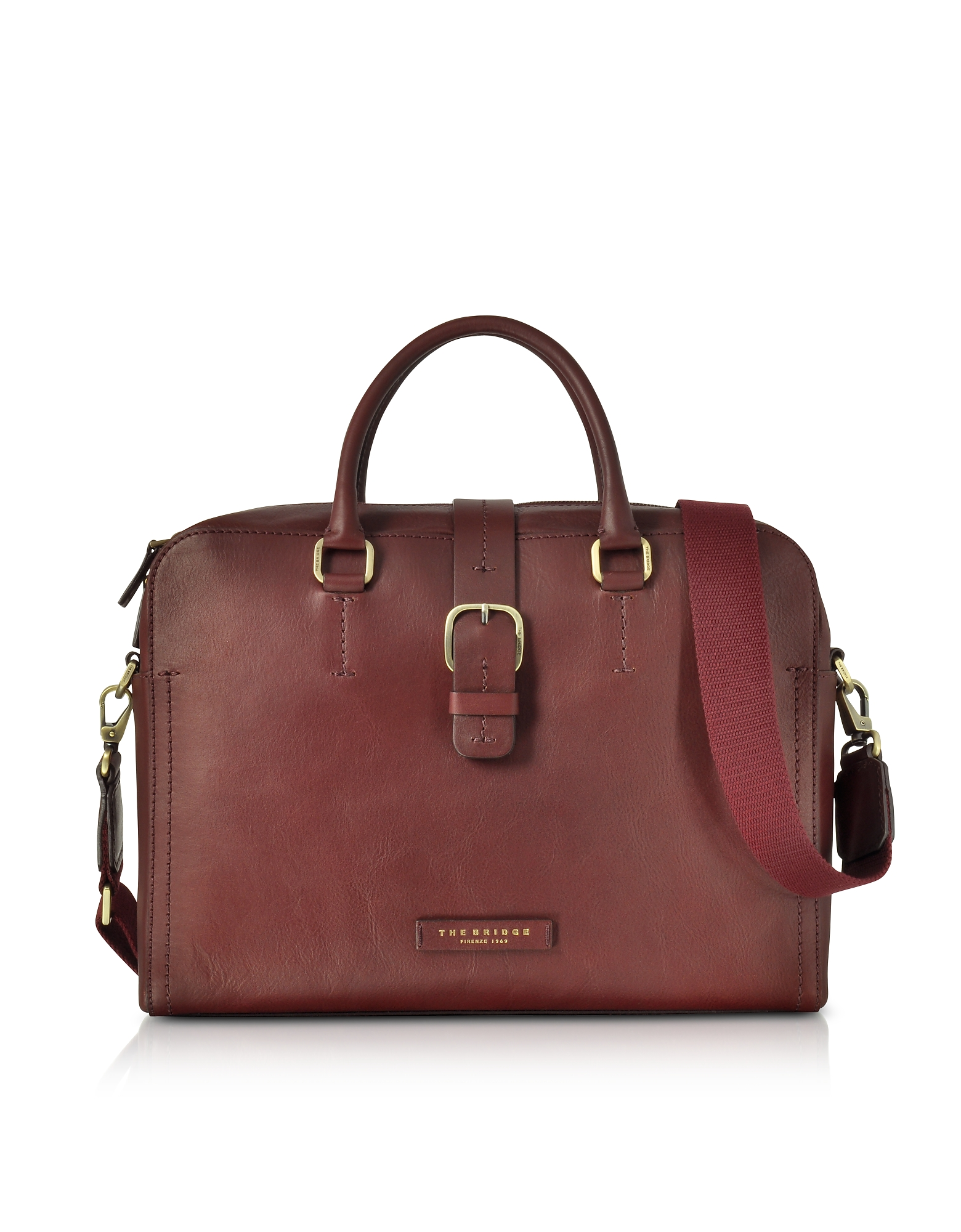 Image of The Bridge Designer Briefcases, Burgundy Leather Double Handle Briefcase w/Detachable Shoulder Strap
