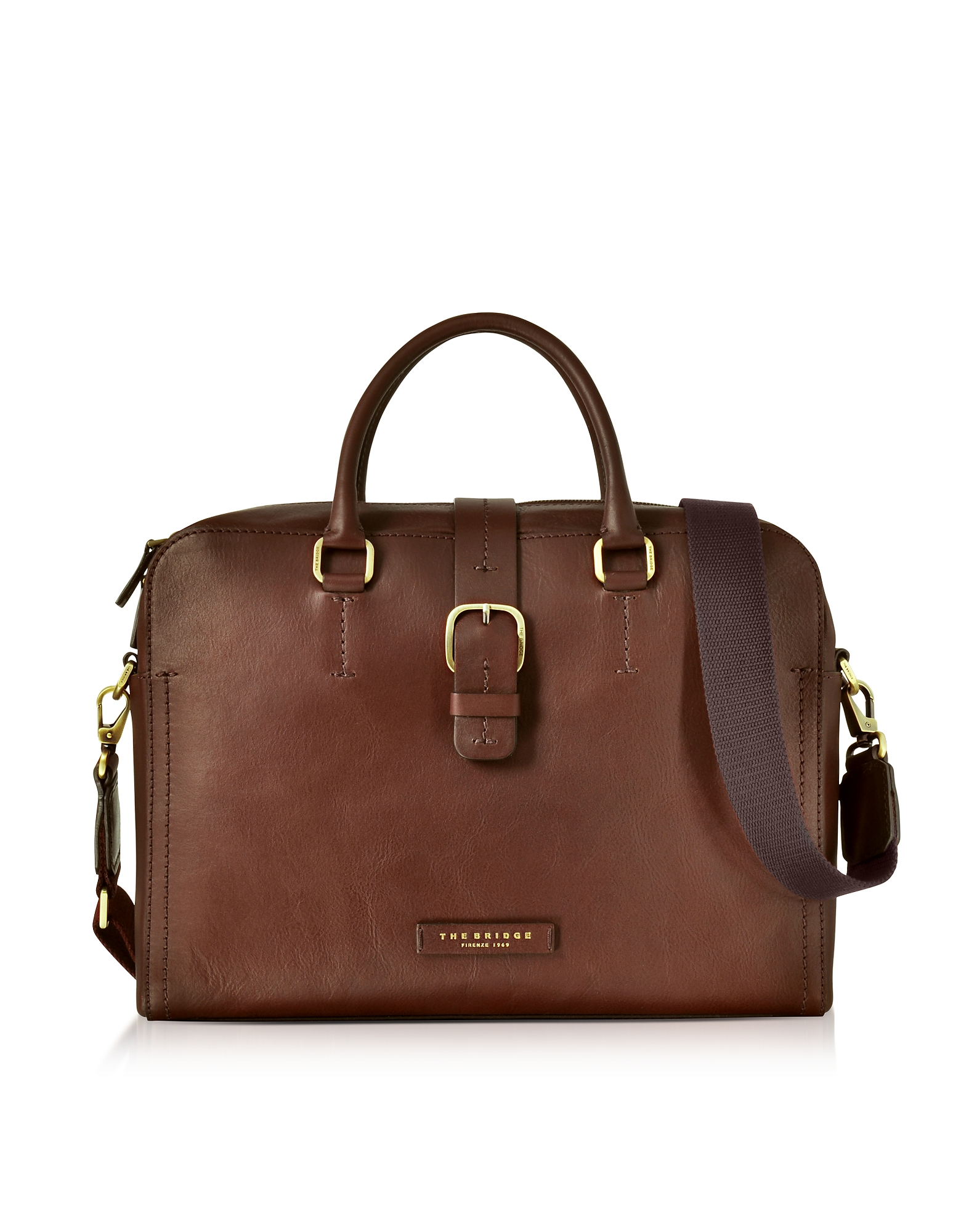 Dark Brown Leather Double Handle Briefcase w/Detachable Shoulder Strap