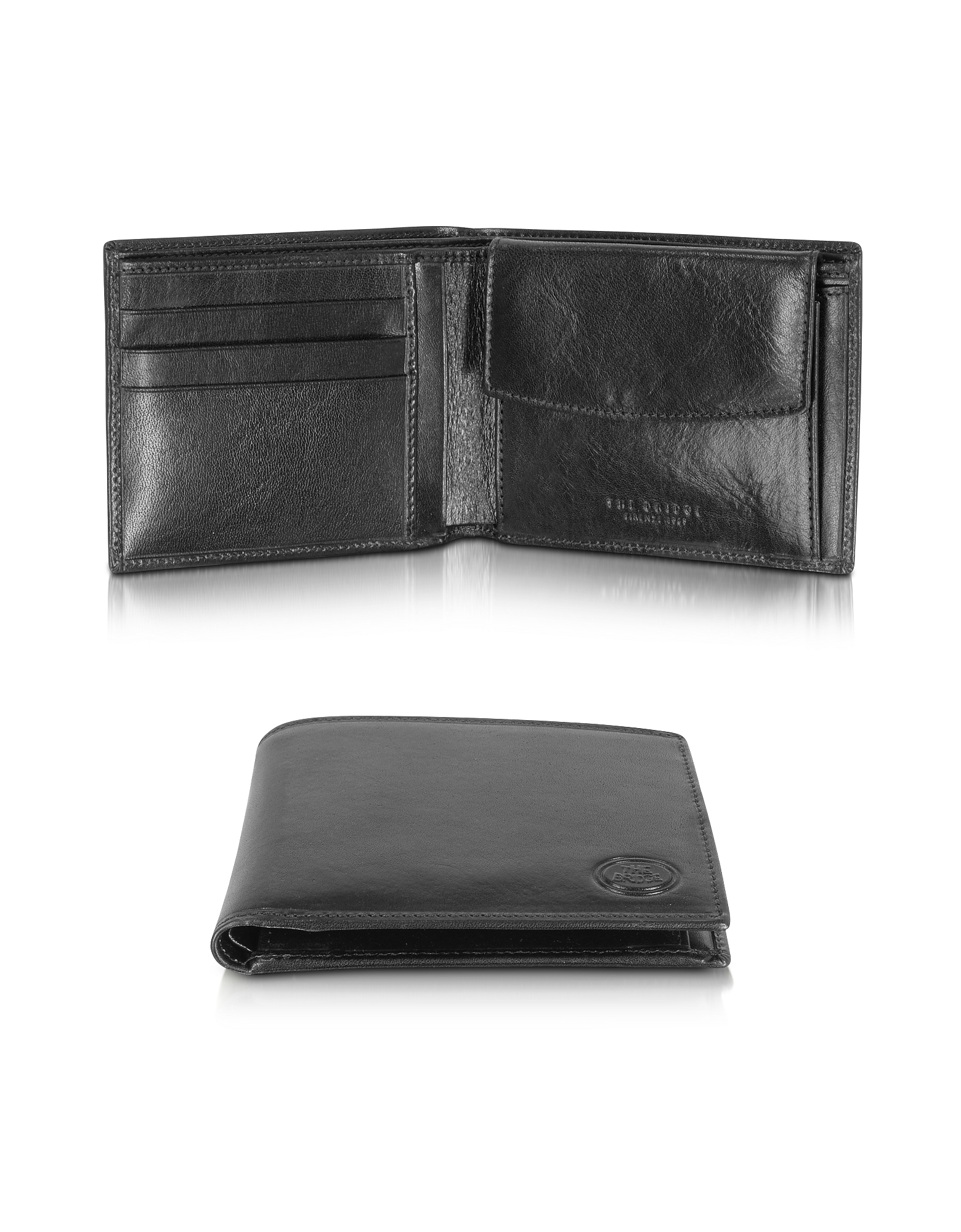 The Bridge Wallets, Story Uomo Black Leather Wallet w/Coin Pocket