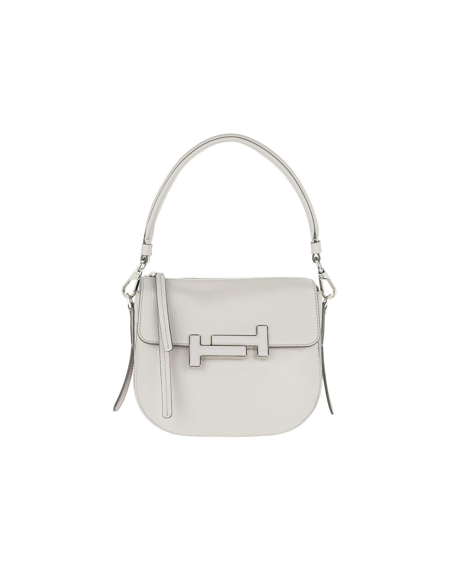 Tod's Handbags, Double T Mini Gray Crossbody Bag