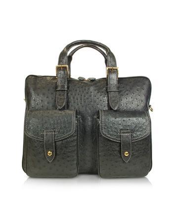A.Testoni Handtasche mit doppeltem Griff aus schwarzem Vogelstrauss