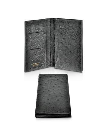 A.Testoni Portemonnaie aus Straußenleder in schwarz