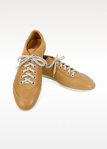 Camel Perforated Calf Leather Lace Up Shoes - A.Testoni