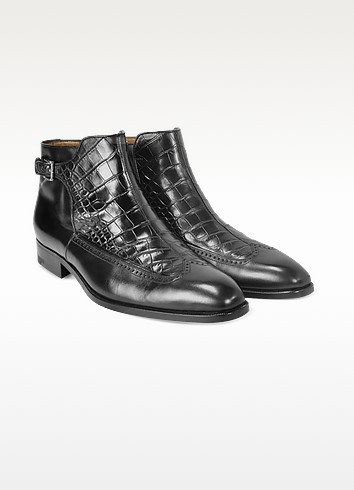 Men's Black Croco and Calf Leather Ankle Boots - A.Testoni