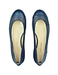 Navy Blue Perforated Leather Ballerina Shoes - A.Testoni