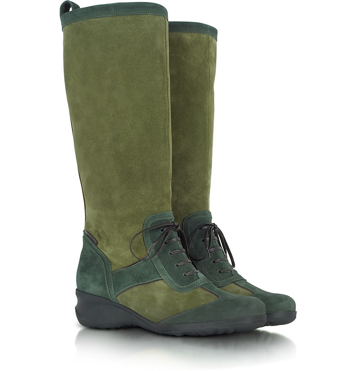 Two Tone Green Suede Boot - A.Testoni
