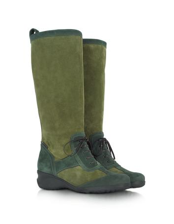 Two Tone Green Suede Boot