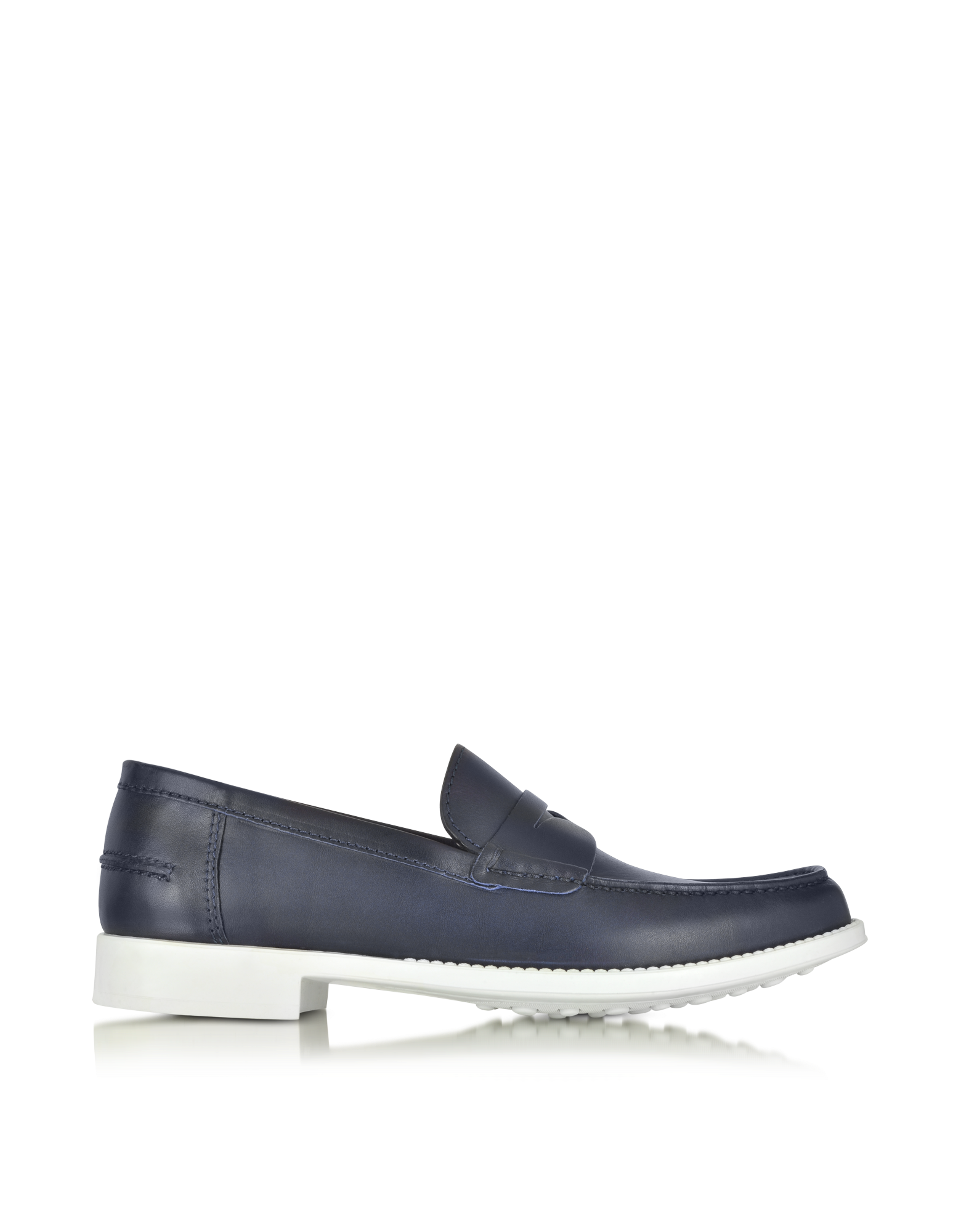 Image of Navy Leather Moccasin Shoe