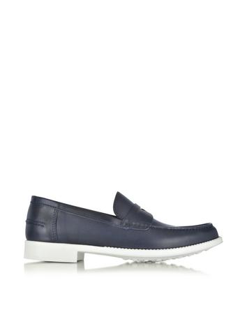 Navy Leather Moccasin Shoe