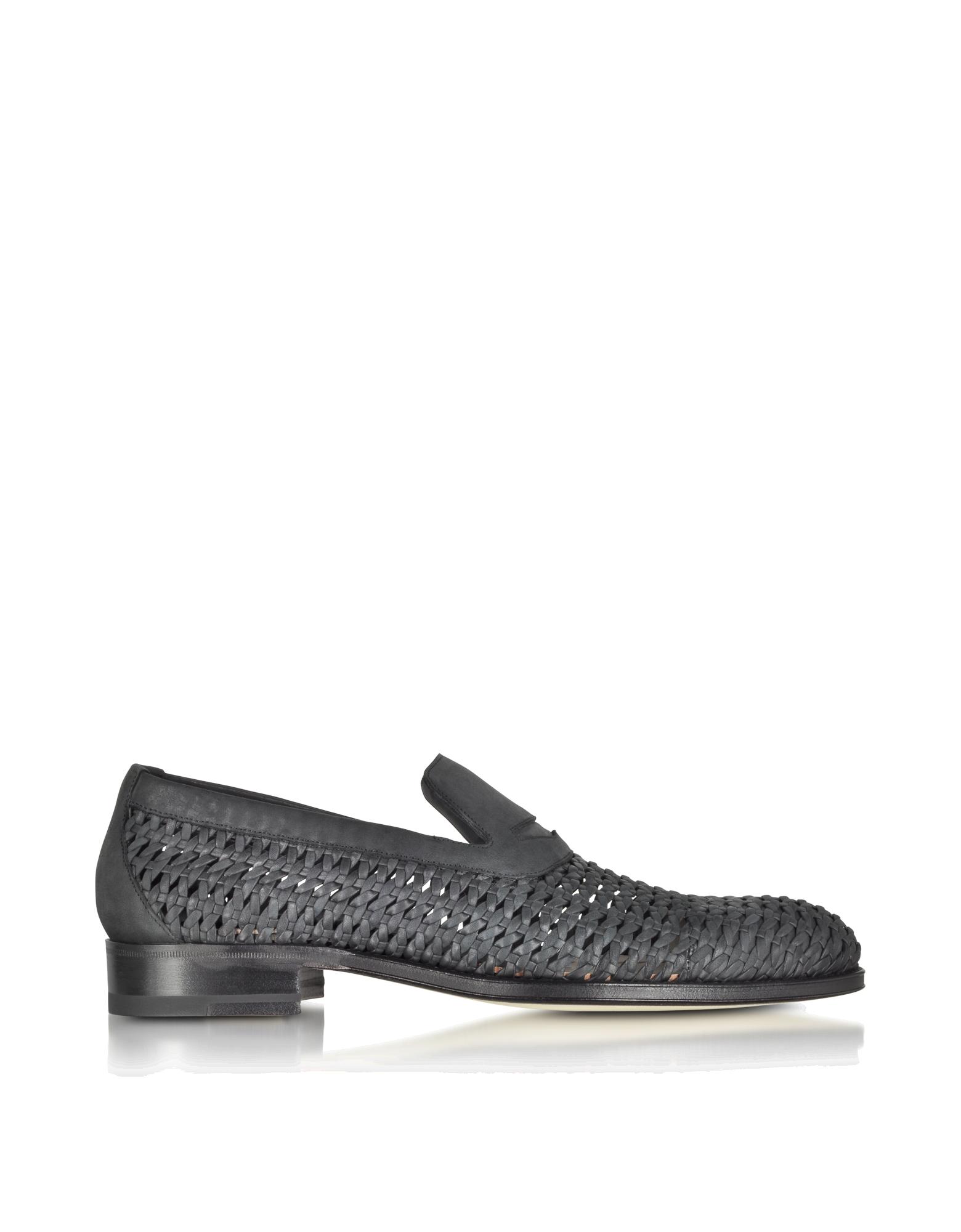 Image of Black Woven Leather Slip-on Shoe