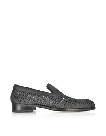 Black Woven Leather Slip-on Shoe