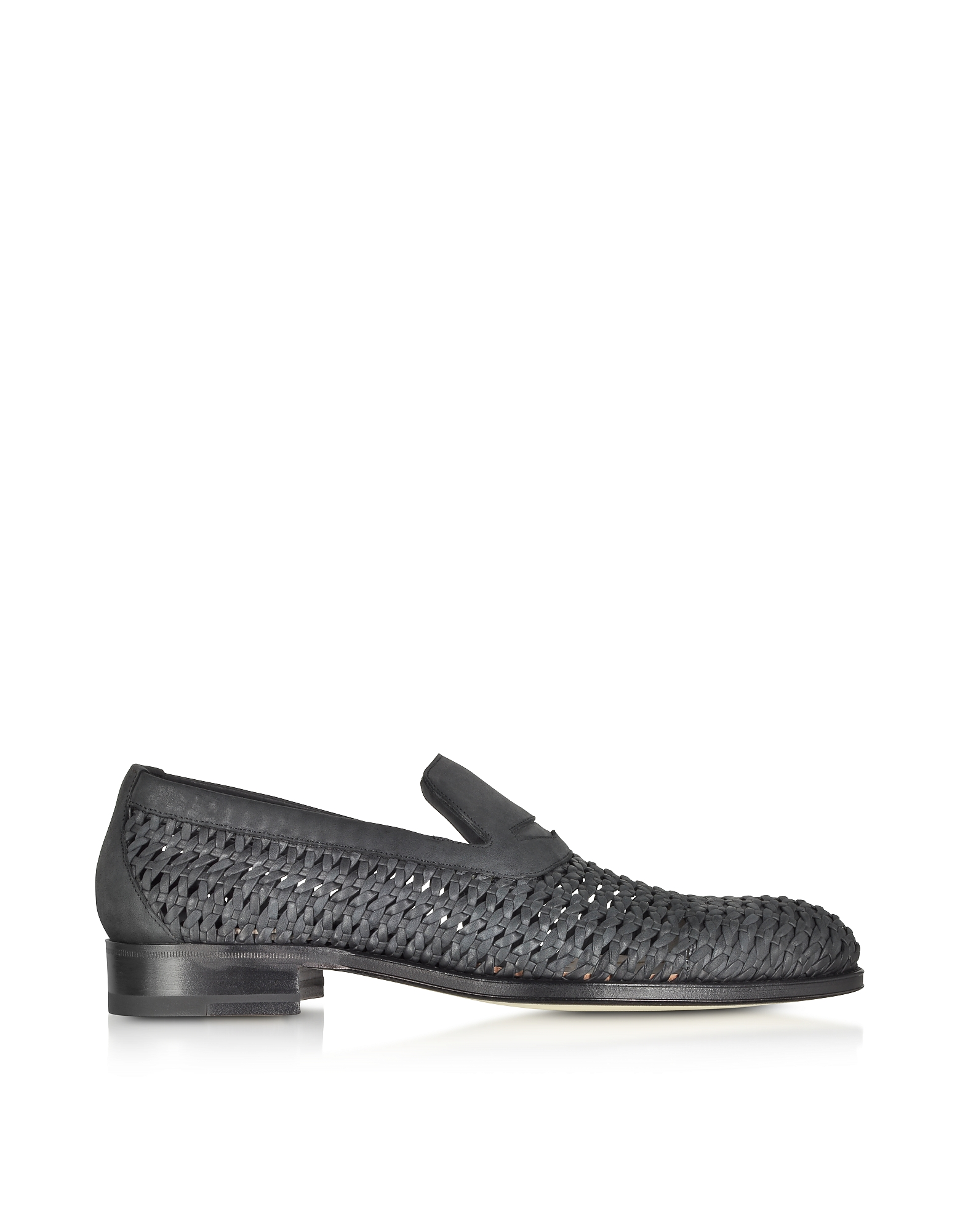 A.Testoni Shoes, Black Woven Leather Slip-on Shoe