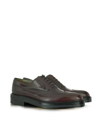 Burgundy Leather Wingtip Oxford Shoes
