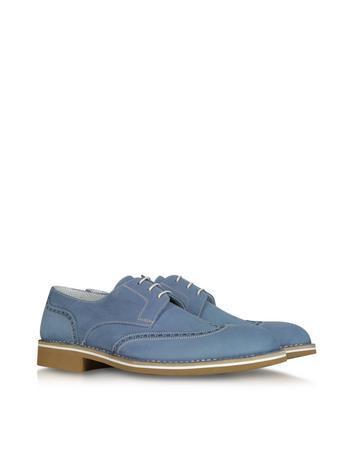 Light Blue Calf Leather Derby Shoe